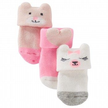 Oshkosh 3PK Cuff Animal Socks
