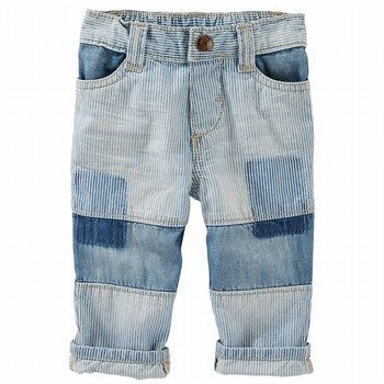 OshKosh Patchwork Hickory Stripe Jeans