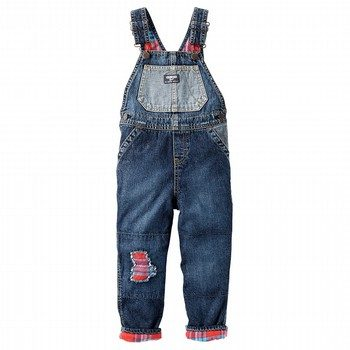 OshKosh Flannel-Lined Rip-&-Repair Denim Overalls