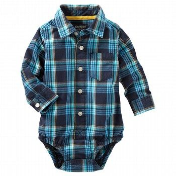 OshKosh Plaid Button-Front Bodysuit
