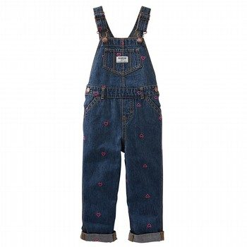 OshKosh Schiffli Hearts Denim Overalls - Coastal Blue Wash