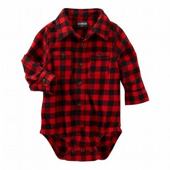 OshKosh Buffalo Check Button-Front Bodysuit