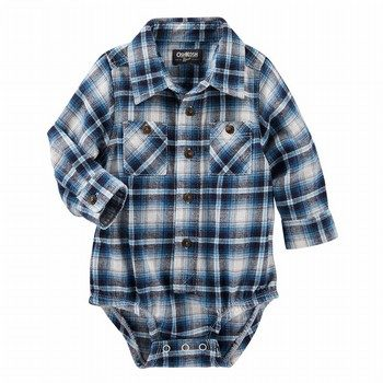 OshKosh 2-Pocket Plaid Button-Front Bodysuit