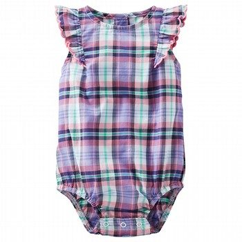 OshKosh Flutter-Sleeve Plaid Poplin Bodysuit