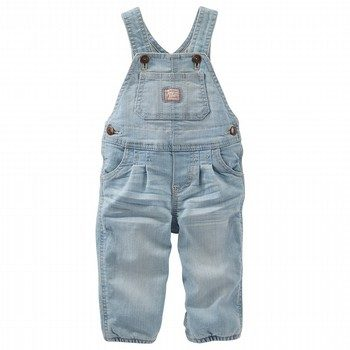 OshKosh Jersey-Lined Stretch Denim Overalls - Sparkle Blue