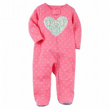 Carter's Zip-Up Heart Cotton Sleep & Play One Piece