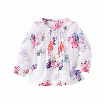OshKosh Butterfly Print Pin-Tucked Top