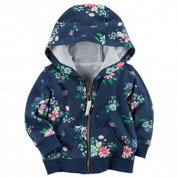 Carter's Zip-Front Floral French Terry Hoodie