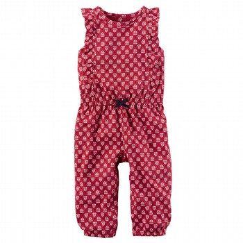 Carter's Flutter-Sleeve Printed Jumpsuit