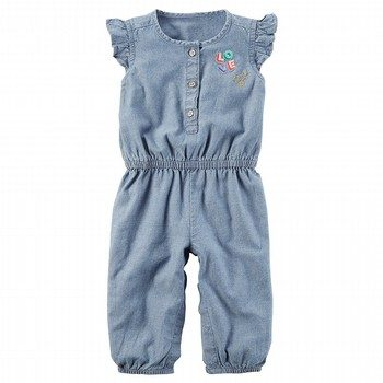 Carter's Flutter-Sleeve Chambray Jumpsuit