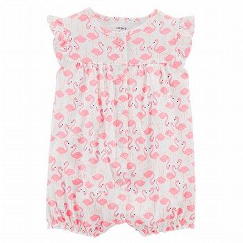 Carter's Flamingo Snap-Up Cotton Romper