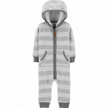 Carter's Hooded Fleece Striped Jumpsuit
