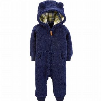 Carter's Zip-Up Hooded Sherpa Jumpsuit