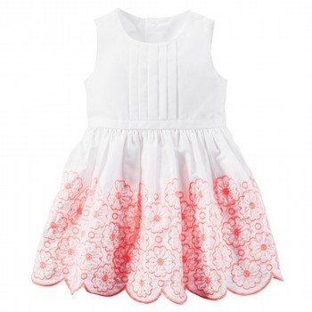 Carter's Embroidered Sateen Dress