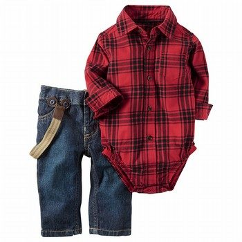 Carter's 2PC Button-Front Bodysuit & Denim Set