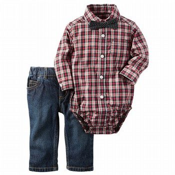 Carter's 3PC Button-Front Bodysuit & Denim Set