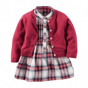 Carter's 2PC Plaid Dress & Sweater Set