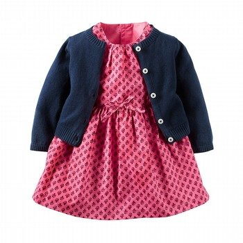 Carter's 2PC Poplin Dress & Sweater Set