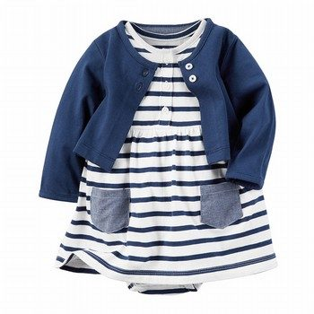 Carters 3PC Babysoft Dress Cardigan Set