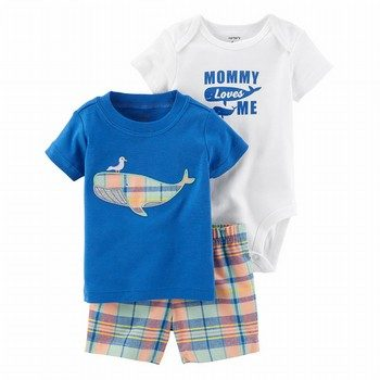 Carter's 3PC Whale Little Short Set