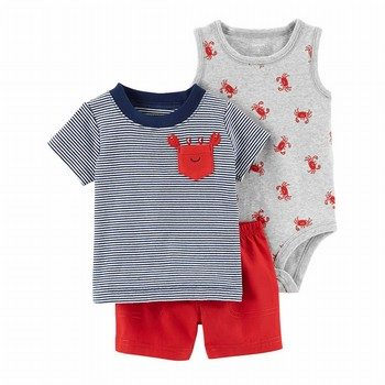 Carter's 3PC Crab Little Short Set