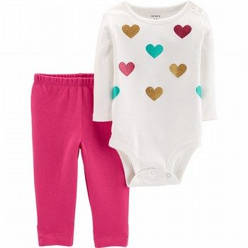Carter's 2PC Sparkle Heart Bodysuit Pant Set