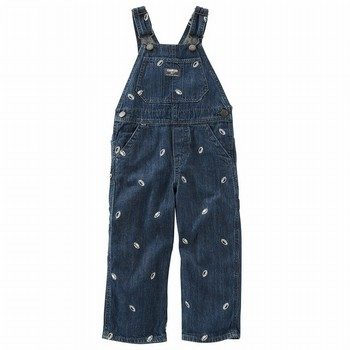 OshKosh Football Schiffli Denim Overalls - Rail Tie True Blue