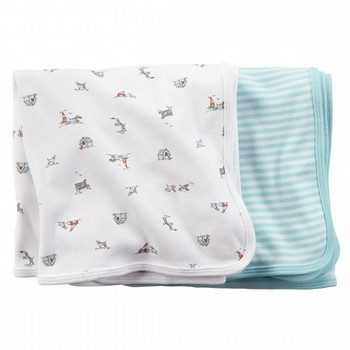 Carter's Blue Puppy 2 Pack Swaddle Blankets