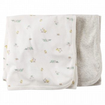 Carter's White Animal Swaddle Blankets