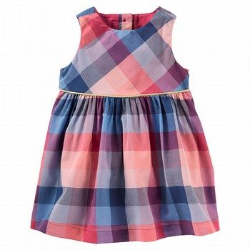 OshKosh Placket Back Woven Dress Plaid