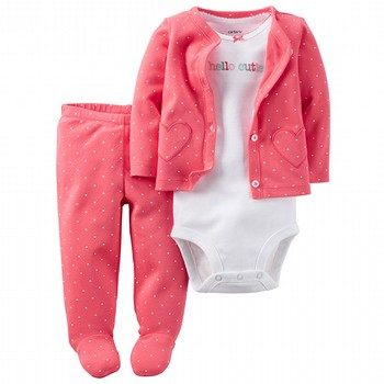 Carter's Hello Cutie 3PC Babysoft Bodysuit & Footed Pant Set