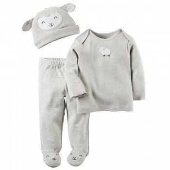 Carter's Little Lambie 3PC Babysoft Top & Pant Set
