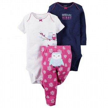 Carter's 3 Piece Owl Bodysuit & Pant Set