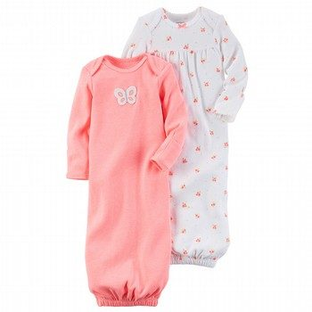 Carter's Hello Love 2PK Babysoft Neon Sleeper Gowns Set