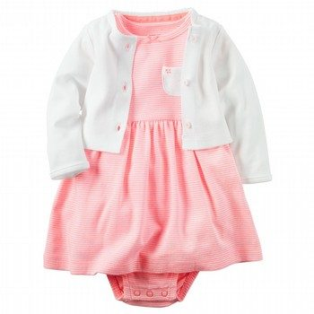 Carter's Hello Love 2PC Babysoft Bodysuit Dress & Cardigan Set