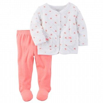 Carter's Hello Love 2PC Babysoft Footed Pant Set