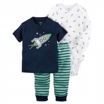 Carter's Little Rocket 3PC Babysoft Bodysuit & Pant Set
