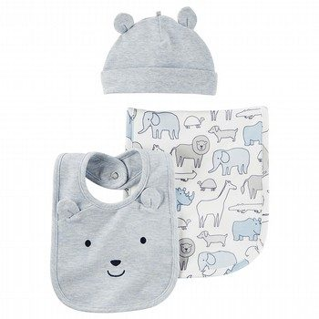Carter's 3PC Heathered Burp Cloth & Hat Set