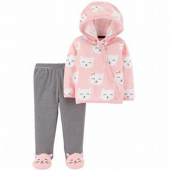 Carter's 2PC Side-Snap Cardigan & Footed Pant Set