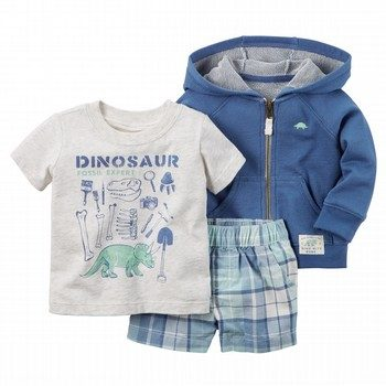 Carter's Dinosaur 3PC Cardigan & Short Set
