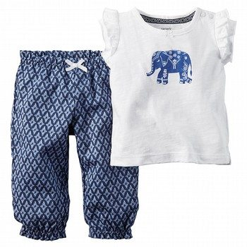 Carter's Little Indigo 2PC Elephant Top & Pant Set