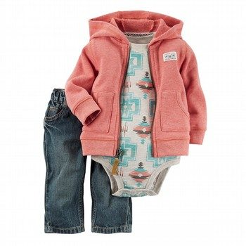 Carter's 3PC Little Cardigan & Bodysuit Set