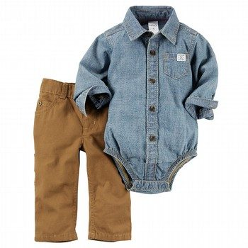 Carter's 2PC Chambray Button Bodysuit & Pant Set