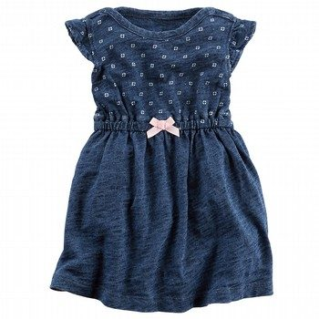 Carter's Indigo Flutter-Sleeve Bodysuit Dress