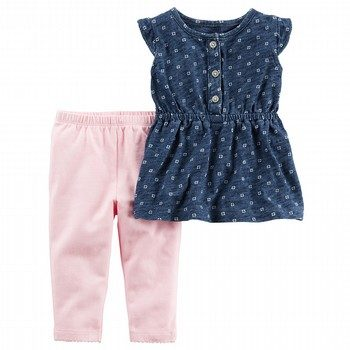 Carter's 2PC Flutter-Sleeve Shirt & Legging Set