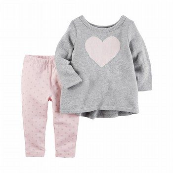 Carter's 2PC Heart Top & Polka Dot Legging Set