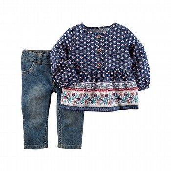 Carter's 2PC Babydoll Top & Denim Pant Set