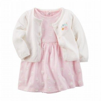 Carter's 2PC Swan Bodysuit Dress & Cardigan Set