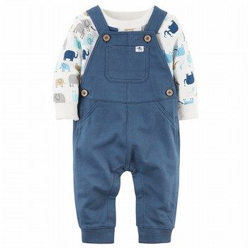 Carter's 2PC Elephant Bodysuit & French Terry Overall Set