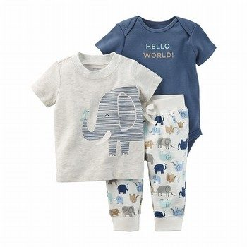 Carter's 3PC Elephant Babysoft Bodysuit Pant Set